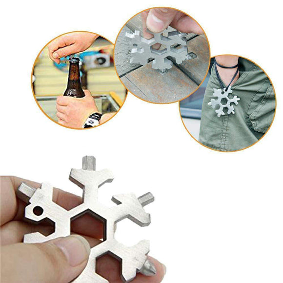 Snowflake 18-in-1 Multi-function Portable Tool Card Combination Product Key Ring