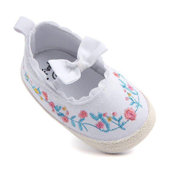 NEER Toddler Baby Crib Shoes Bow Embroidery Princess Baby Soft Sole Anti-Slip Prewalker