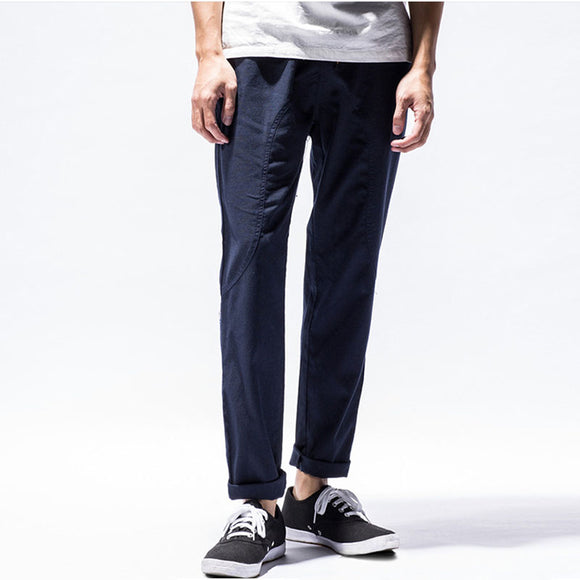 NEER Men's Chinese Style Linen Casual Thin Pants