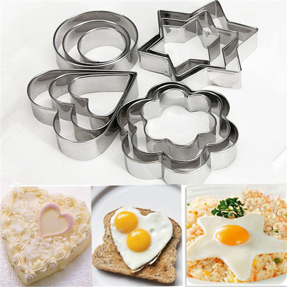 12PC/SET Stainless Steel Biscuit Mold Cake Mold Baking Tools