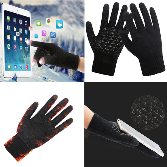 Winter Warm Knit Touch Screen Gloves Couple Models Wool Plus Velvet Non-slip Gloves