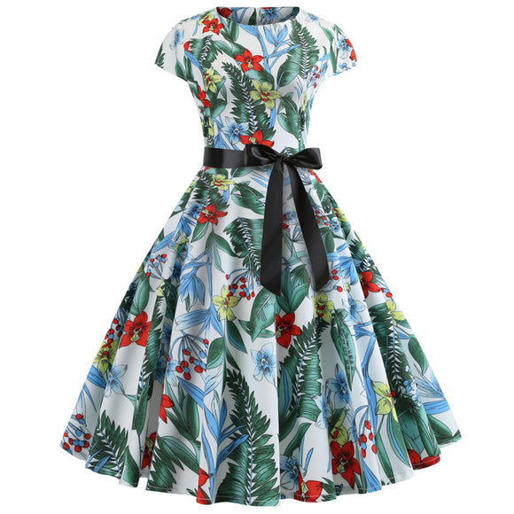 Fashion Elegant Hepburn Printed Vintage Dress