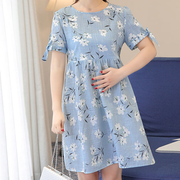 Ties Waist Floral Printed Linen Maternity Dress Fashion Nursing Clothes for Pregnancy Clothing