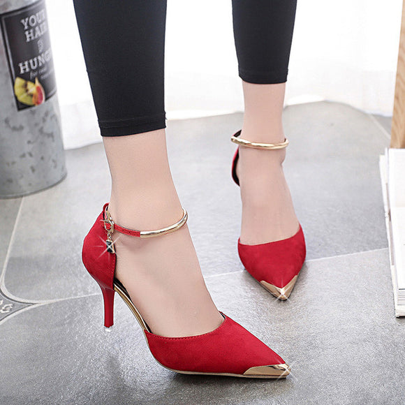 Super High Heel Sexy Cover Head A Word Buckle Belt Woman Shoe