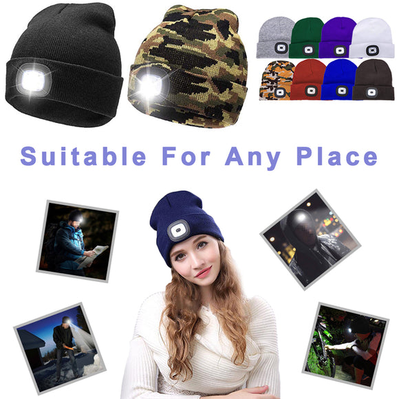 Winter Outdoor Men's And Women's Knitted Hat Button Battery Led Light Warm Cap