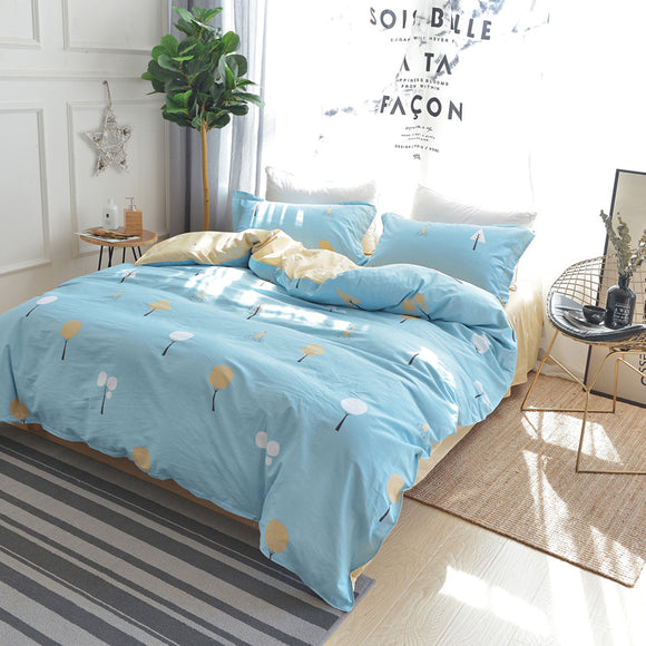 Bedding Cotton Four-piece Cotton Twill Printed Sheets Quilt Cover Home Textiles