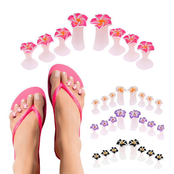 8 Pieces Toe Separators Set Flower Silicone Foot Care Tools