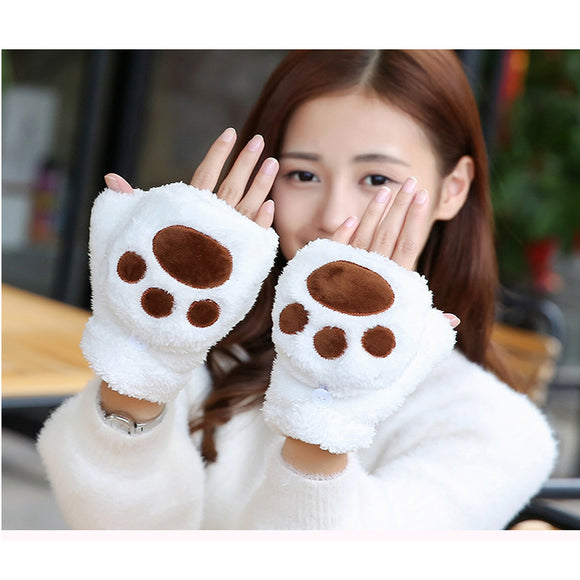 Autumn And Winter Women's Warm Cat Claw Renovate Knitted Plush Gloves