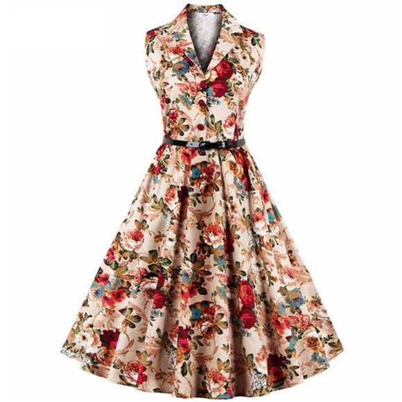 Hepburn Style Sleeveless Printed Midi Vintage Dress