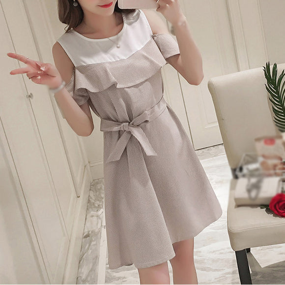 Stylish Ruffle Strapless Ties Waist Maternity Dress Summer Korean Fashion Clothes for Pregnant