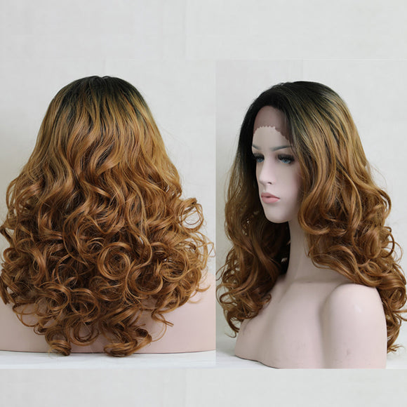 Long Free Parting Ombre Curly Lace Front Synthetic Wig