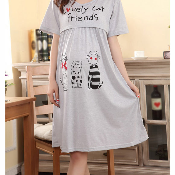 Nursing clothes pregnant women maternity dress summer Breastfeeding lactating loose cotton dress