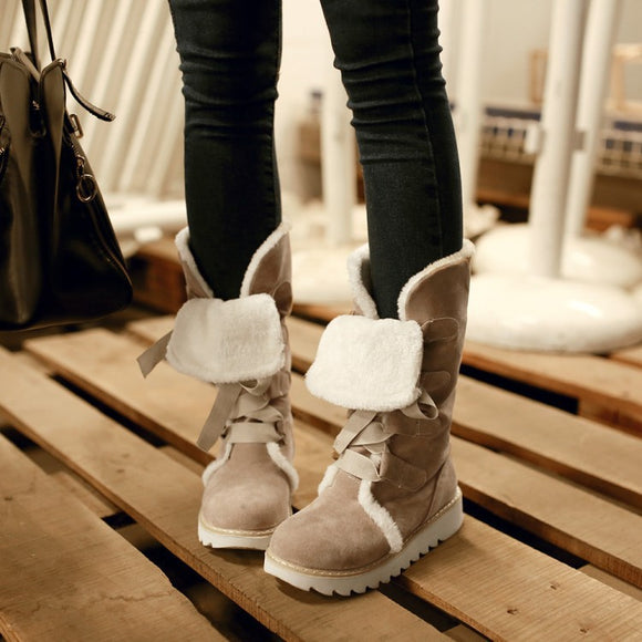 Women's Fashion Winter Warm Lace-up Plus Size Snow Boots Casual Shoes