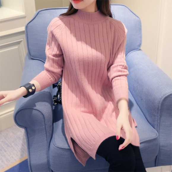 Knitted Stand Collar H-line Long Sleeve Sweater Dress