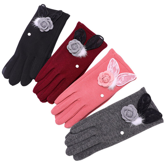 Autumn And Winter Women's Stereoscopic Flower Faux Fur Warm Gloves
