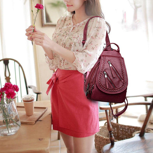 Backpack Casual Soft Leather Multi-function Female Backpack Chest Bag
