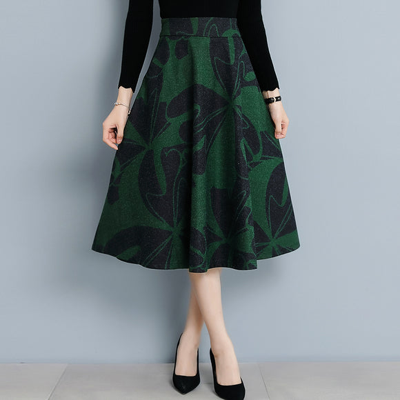 Winter Autumn Wool-like Abstract Floral Printed A-line Skirt