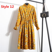 Women Casual Dress Elastic Waist Stand Neck Long Sleeve Printed Corduroy Dress