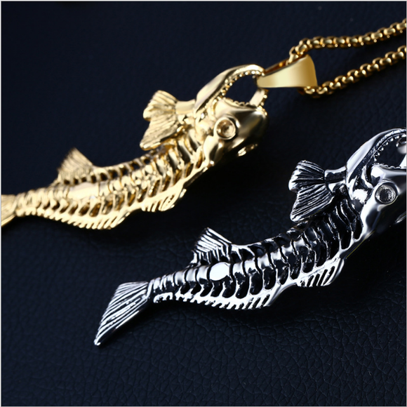 1PC Fashion Punk Stainless Steel Fishbone-shaped Pendant Men's Necklace