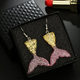 1 Pair Cute Mermaid Princess Earring Trendy Silver Color Hook Dangle Earrings Birthday Gifts
