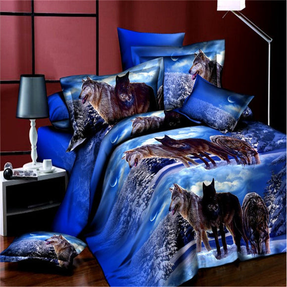 (2*2.3M)Four-piece Of High Quality Creative 3D Nature Themed Bedding Cover For Autumn And Winter