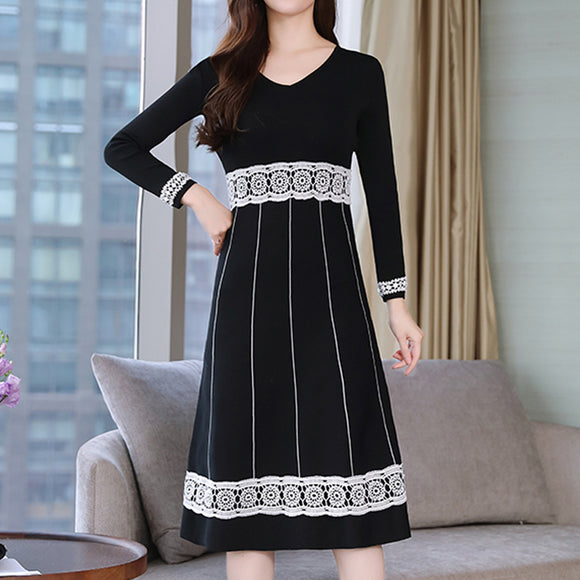 Woman Lace Patchwork V-neck Long Sleeve Slim Kniting Dress