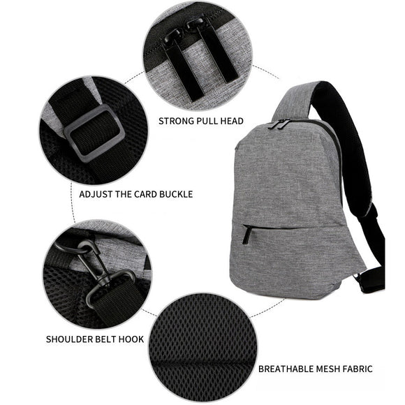 Men's Simple Pure Color Chest Bags Casual Zipper Cross Body Bags