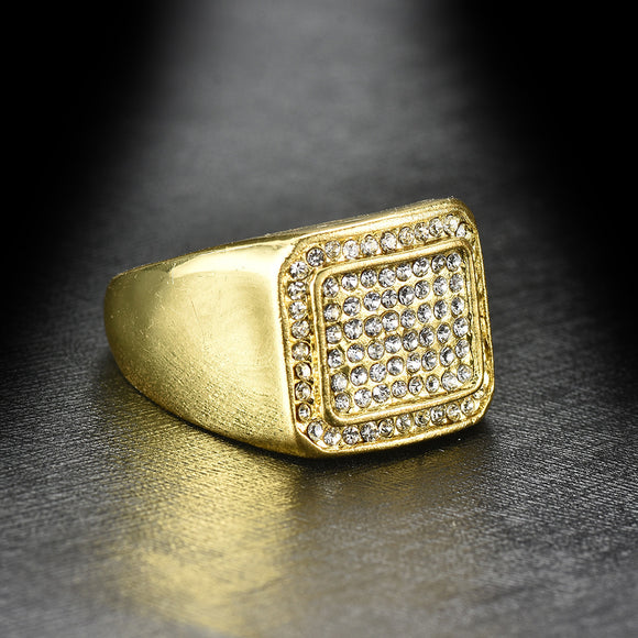 1PC Fashion Geometry-shaped With Zircon Gold Alloy Men's Ring
