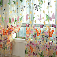 100*200/100*270cm Rod Washable Offset Printing Rotten Butterfly Curtain Window Decoration