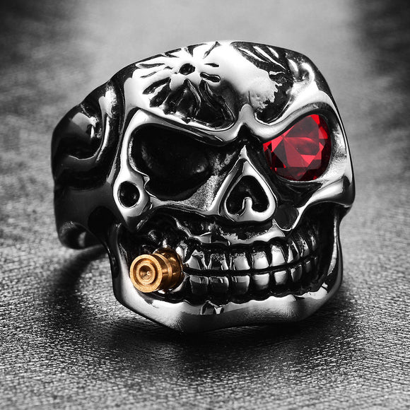 1PC Punk Pipe Skull-shaped Alloy With Rhinestone Men's Ring