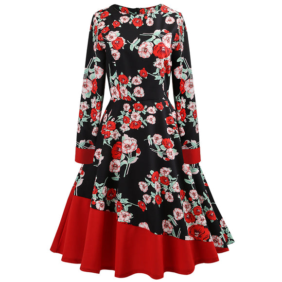 Women's Long Sleeve Printed Slim Vintage Dress