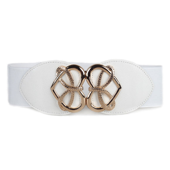 Women Metal Heart-shaped Buckle Stretch Wide Waist Belt Waistband