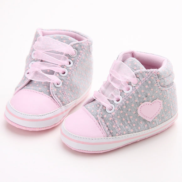 Classic Casual Baby Shoes Toddler Polka Dots Baby Girls Autumn Lace-Up First Walkers Sneakers Shoes