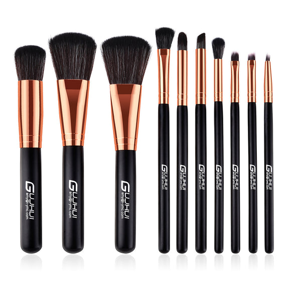 10Pcs Black Gold Handle Professional Makeup Brush Sets