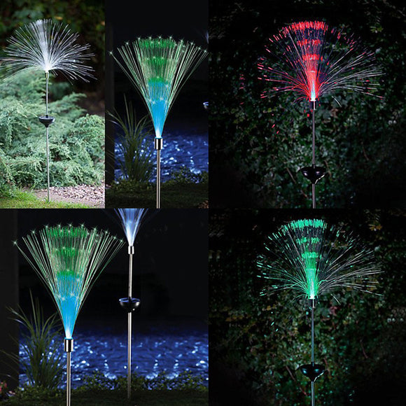 Solar energy colorful variation of optical fiber lamp lawn inserted floor lamp