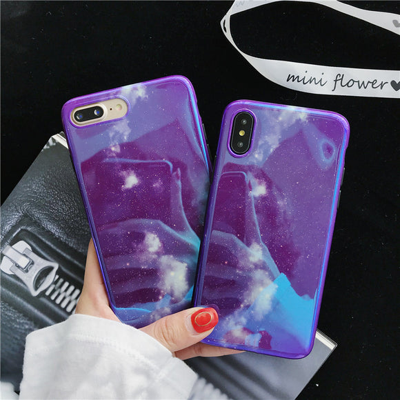 Dreamy Night Sky Blue Light Soft Shell Phone Case For Iphone