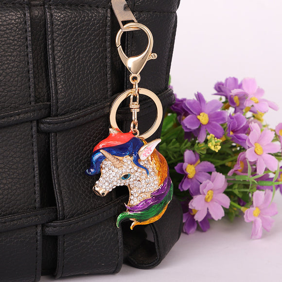 Multi Color Horse Key Decoration Accessory Golden With Multi Color Crystal Car Decoration Pendant