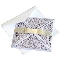 10pcs Laser Cutting Floral Lace Wedding Invitations Holiday Celebration Greeting Card
