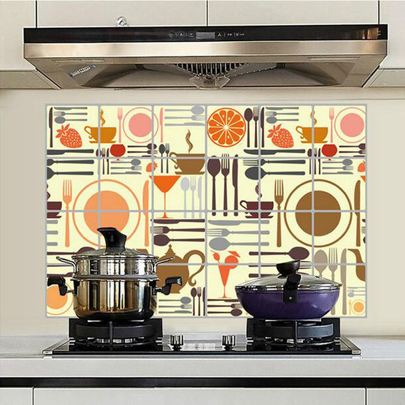 Diy Environment Aluminum Foil Kitchenware Kitchen Oilproof Wall Stickers