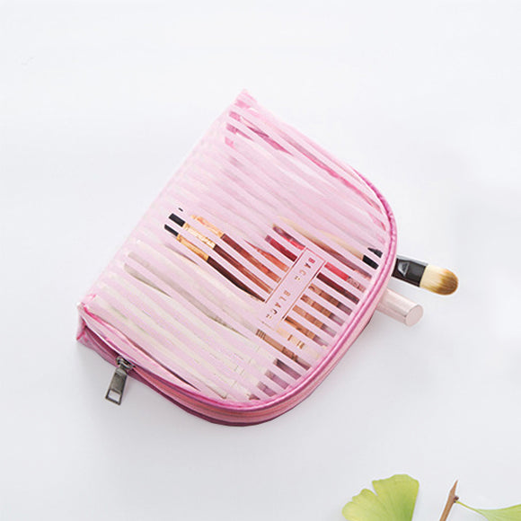 Women's Travel Stripe Transparent Storage Bag Wash Bag Cosmetic Bag