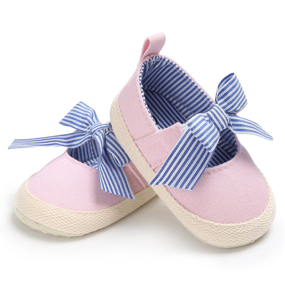 NEER Stylish summer Baby Shoes Newborn Girls Soft Soled casual cotton Princess striped Crib Shoes