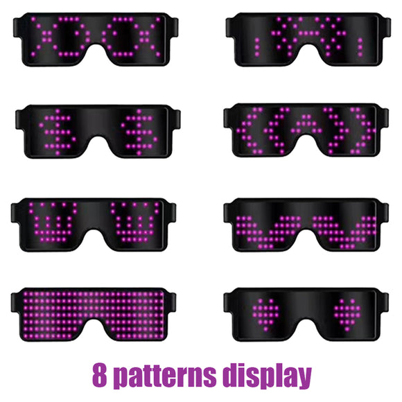 8 Mode Led Light Glasses Holiday Party Supplies Usb Rechargeable Glasses