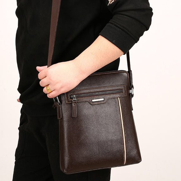 Men's Business Pu Leather Zipper Shoulder Bag Crossbody Bag