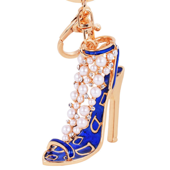 Sexy High Heel Car Key Decoration Accessory Golden With Multi Color Crystal Car Decoration Pendant