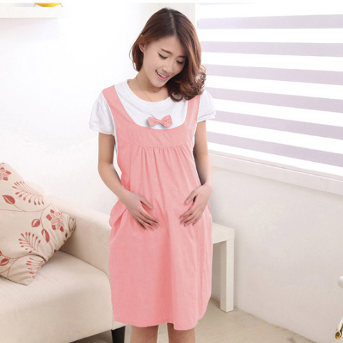 Summer Sweet Women Pregnant Dress Cotton Bow Lovely Dress Soft Plus Size Maternity Casual Patchwork