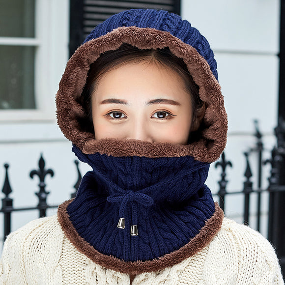 Winter Men's Knitted Hat Scarf Thickened Warm Knit Hat