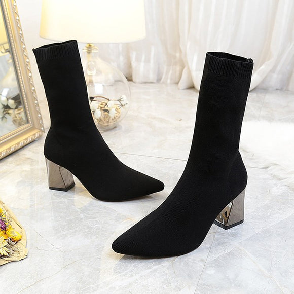 Women's Fashion Autumn Winter High-heeled Boots Elastic Short Boots Martin Boots
