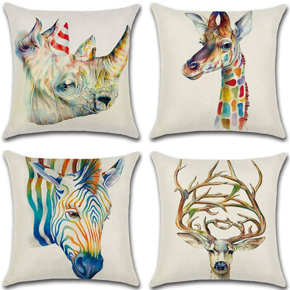 Linen Hug Pillowcase 3d Animal Sofa Cushion Pillowcase Home Textiles