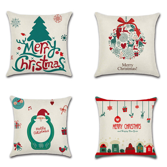 Christmas Theme Linen Hug Pillowcase Cartoon Sofa Cushion Pillowcase Home Textiles