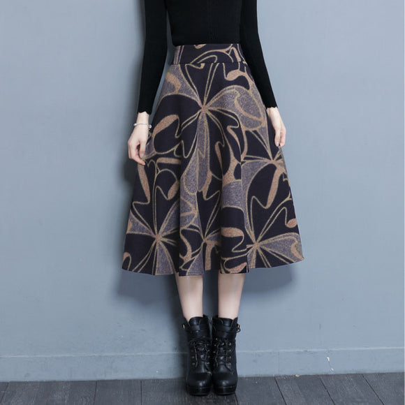 Winter Autumn Wool-like High Waist Middle Length A-line Skirt